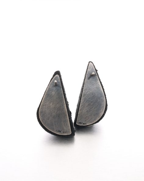 black earrings in the shape of 2 half drops - michelle kraemer jewellery
