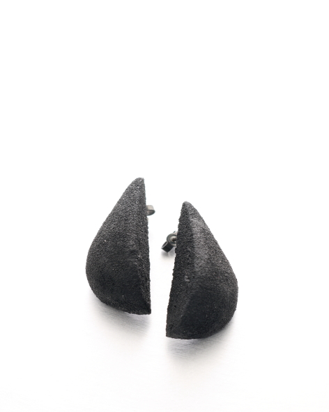 black earrings in the shape of 2 half drops - michelle kraemer jewellery
