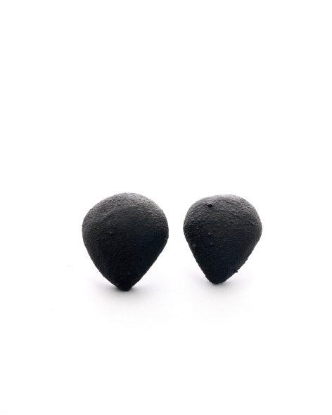 black earrings in the shape of an upside down drop. michelle kraemer jewellery