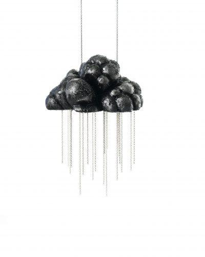 Rain cloud necklace - carved balsawood cloud, painted black, silver chain rain - michelle kraemer jewellery
