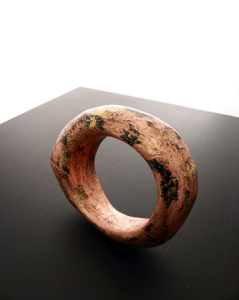 wooden bangle refined with copper leaf - michelle kraemer jewellery