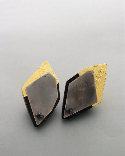 Extra large facetted wood earrings - top half black and bottom half in 24k gold leaf - michelle kraemer jewellery