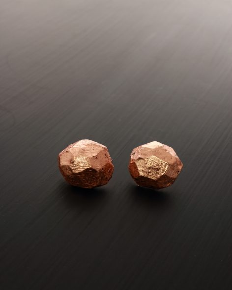 round facetted earrings. carved balsawood refined with copper leaf on a silver back. michelle kraemer jewellery