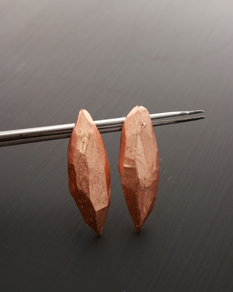 lightweight facetted drop shaped earrings refined with copper leaf - michelle kraemer jewellery