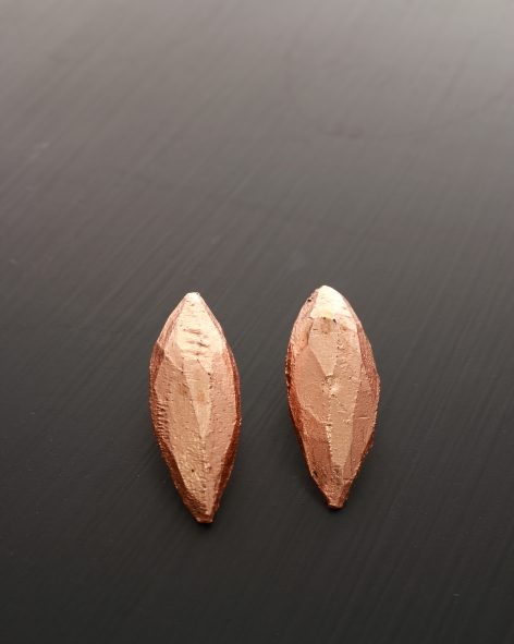 hand carved, drop shaped earrings with a copper finish- michelle kraemer jewellery