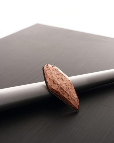 oval copper plated balsa wood ring on a silver base - michelle kraemer jewellery