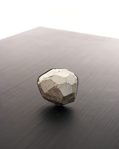 top of a balsa wood ring with an oxidized silver base by michelle kraemer jewellery