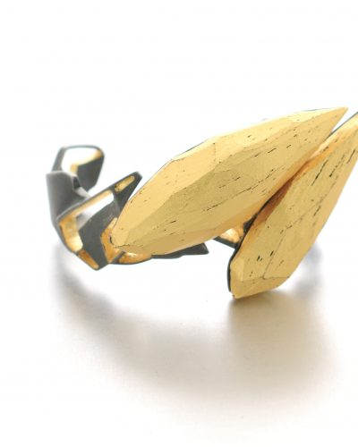 Cuff Bracelet in oxidized silver with gold plated cutouts and2 pointy golden balsawood pieces - michelle kraemer for the Blank Canvas Project by Liam Powers