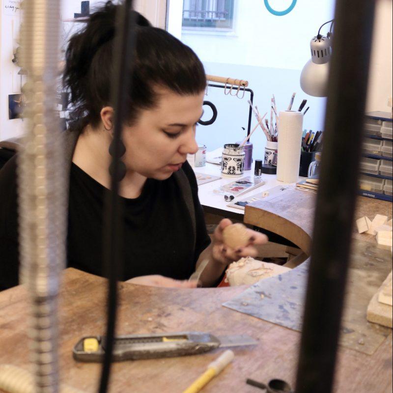 michelle kraemer jewellery artist working at her bench at Atelier STOSSIMHIMMEL