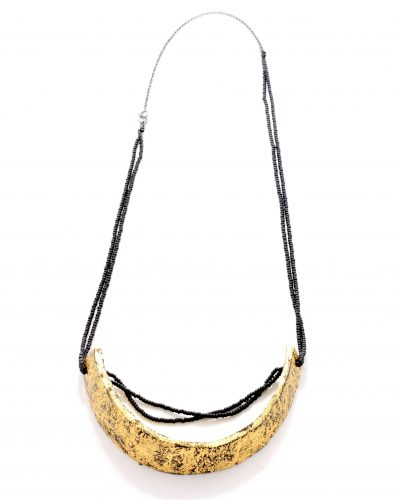custom made medium long necklace with a 24kt gold plated coconut shell piece on chain made with black glass beads and silver chain - michelle kraemer jewllery