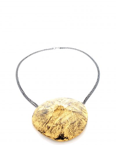 custom made short necklace with a disk made from 24k gold plated coconut shell on a double silver chain - michelle kraemer jewellery