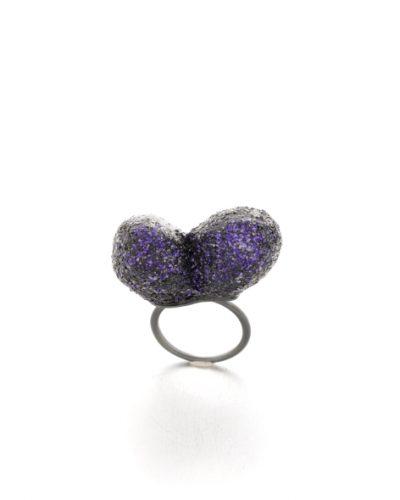 double trouble ring purple glitter - michelle kraemer jewellery