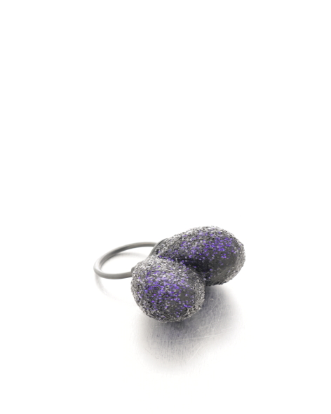 double trouble ring purple glitter - balsawood, glitter, oxidized silver - michelle kraemer jewellery
