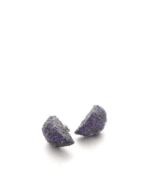 half round purple glitter earrings - michelle kraemer jewellery