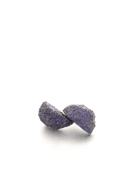 half round purple glitter earrings - michelle kraemer jewellery