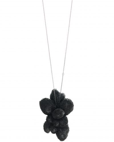 long silver chain with a textured black cloud pendant - Short white cloud necklace with double silver chain - ong white leather necklace with an inverted white cloud pendant in balsa wood - michelle kraemer jewellery