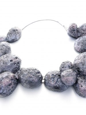 contemporary necklace with 4 carved balsawood pieces - purple, textured surface - michelle kraemer jewellery