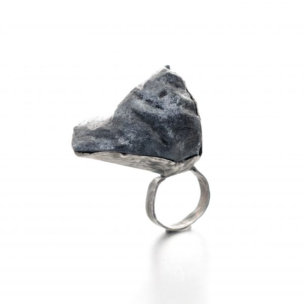 big textured ring that looks like a space rock - balsa wood and distressed silver