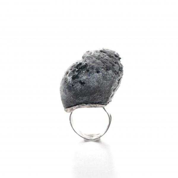 rough balsa wood ring with distressed oxidised silver
