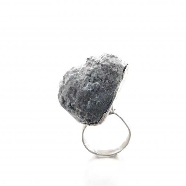 """Textured """"rock"""" ring in balsa wood and distressed oxidized silver - michelle kraemer jewellery"""