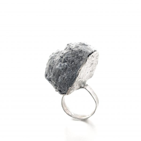 Meteor Ring in black balsa wood and textured silver - michelle kraemer jewellery