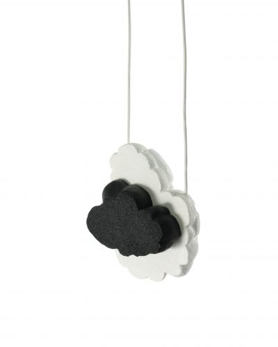 Long leather necklace with black and white cloud pendant - carved balsa wood - michelle kraemer jewellery