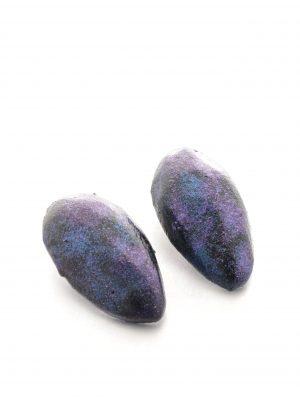 oval balsawood earrings - space blue - michelle kraemer jewellery