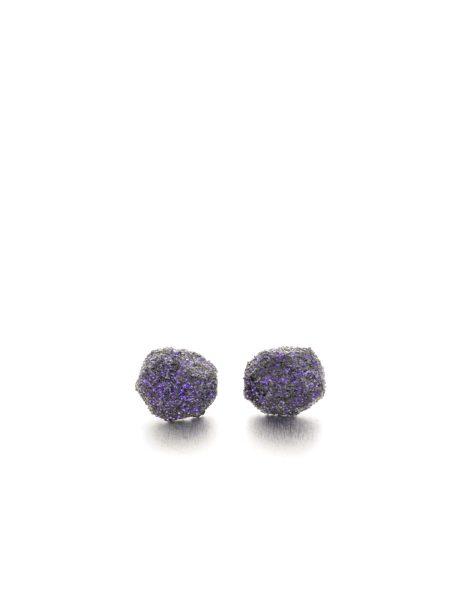 round purple glitter earrings. michelle kraemer jewellery