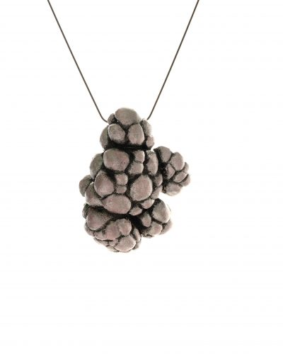 smoke colored cloud pendant on a snake chain - balsawood, paint - michelle kraemer jewellery