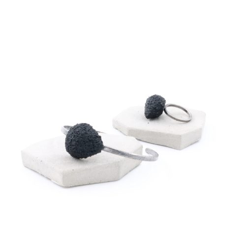 custom made silver bracelet and ring with a black balsa wood drop shape - michelle kraemer jewellery